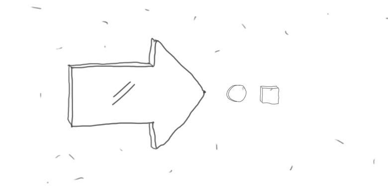 стрелочка кружочек квадратик